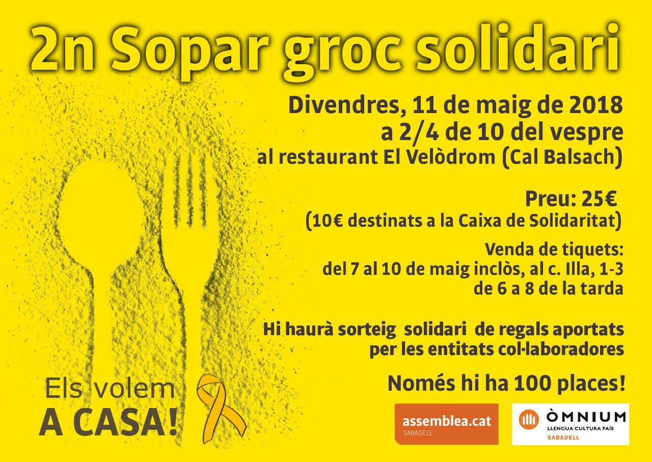 Cartell sopar groc Sabadell