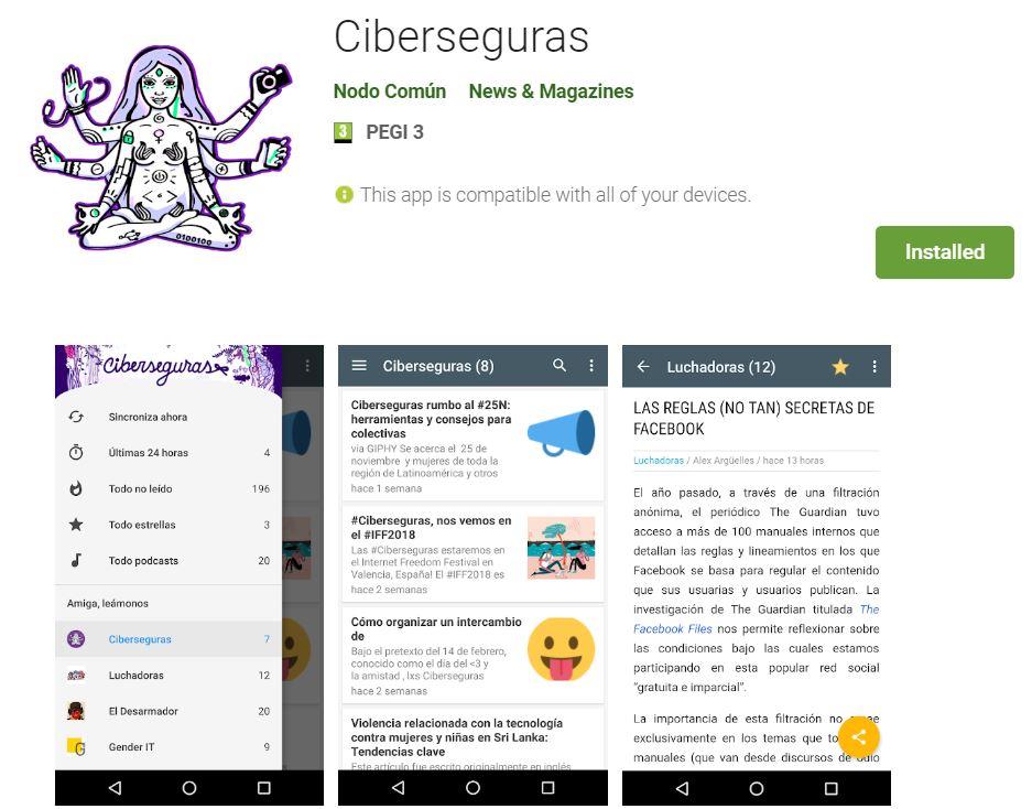 L'App Ciberseguras recull lectures, materials i recursos sobre ciberseguretat de diversos col·lectius ciberfeministes  Font: Ciberseguras