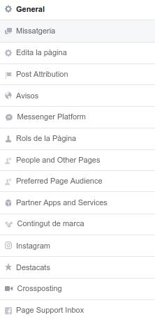 la Captura de pantalla de la configuración de facebook