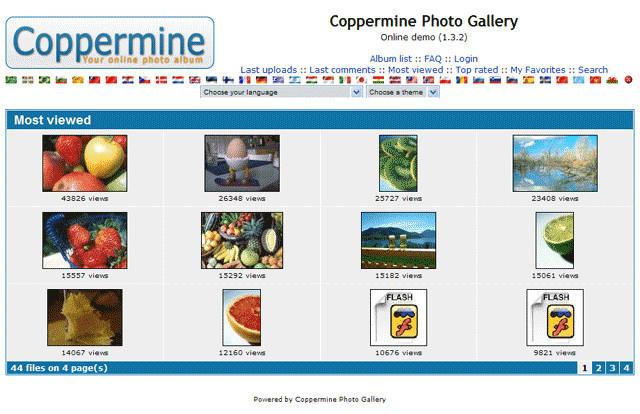 Coppermine és una eina que permet crear galeries d'imatges.  Font: Coppermine