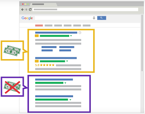 Imatge que descriu la diferència entre resultats de cerca de pagament i resultats de cerca gratuïts Font: Google