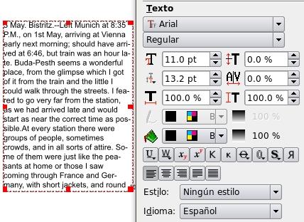 Captura pantalla sobre com aplicar format de text a Scribus Font: Scribus
