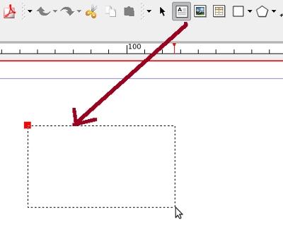 Captura de pantalla sobre com inserir una caixa de text Font: Scribus