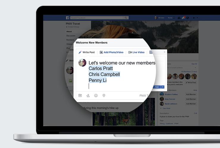 Mensaje de bienvenida a los nuevos usuarios de Facebook Grupos