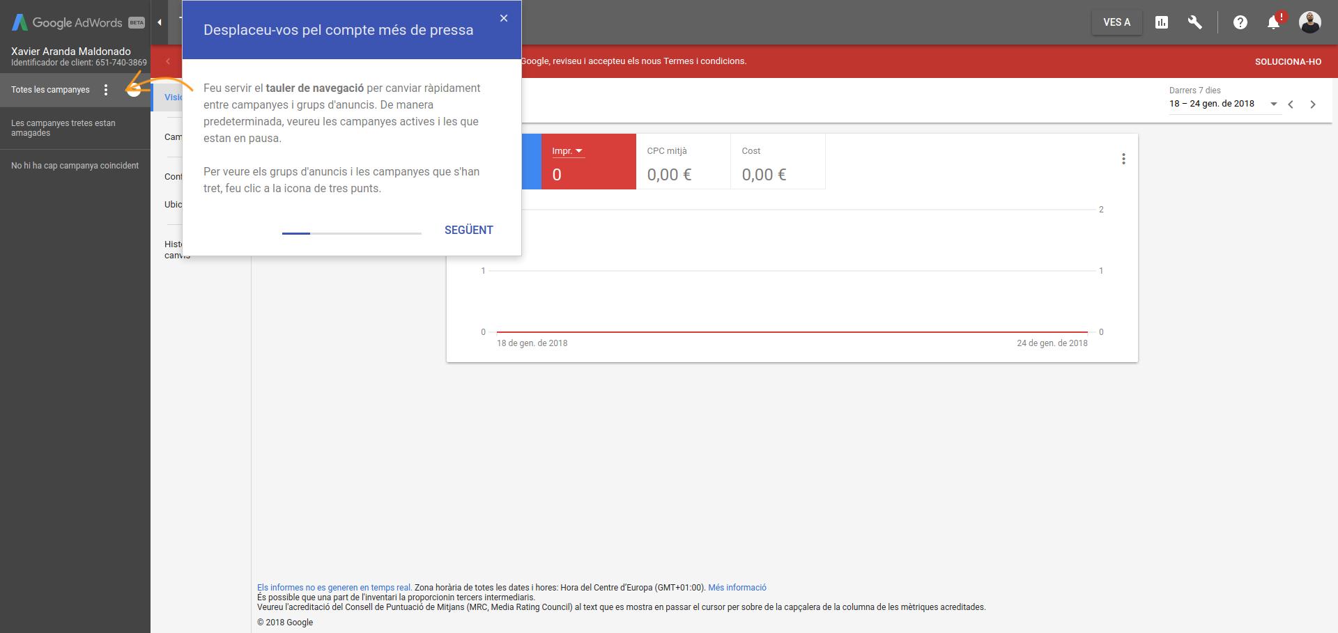 Captura imatge del nou panell de control de Google Adwords Font: Colectic