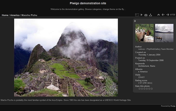 Piwigo és una eina per desar i visualitzar fotografies.  Font: Piwigo