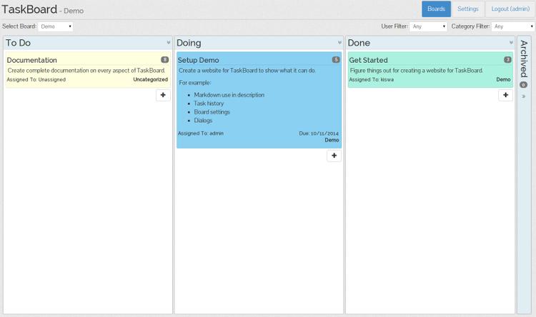 Taskboard és una bona eina de programari lliure per gestionar tasques.  Font: Taskboard