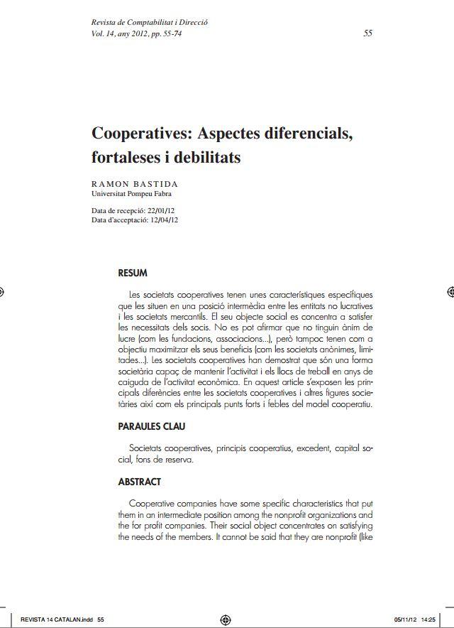 Portada de Cooperatives: aspectes diferencials, fortaleses i debilitats