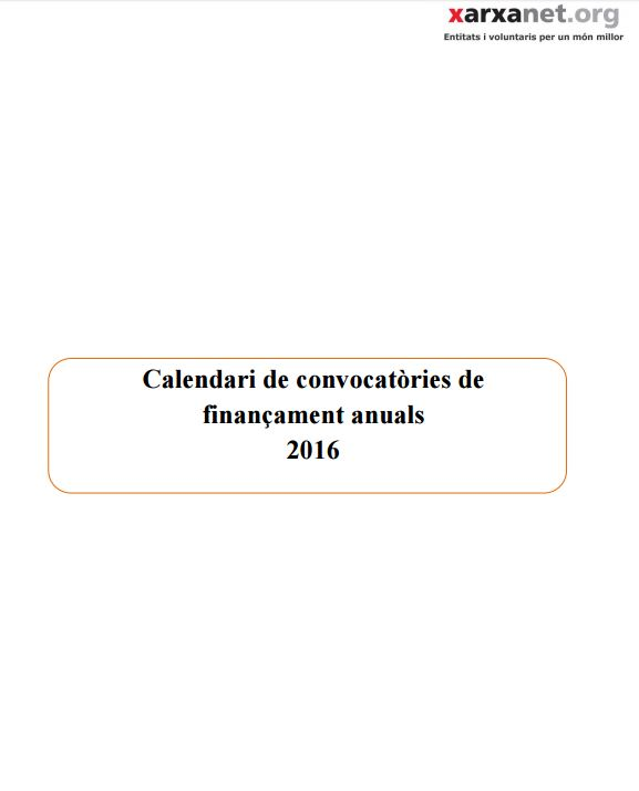 Portada de Calendari de convocatòries de finançament anuals 2016
