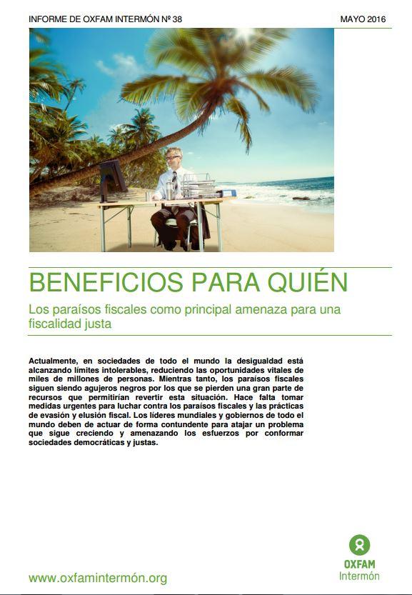Portada de Beneficios para quién: los paraísos fiscales como principal amenaza para una fiscalidad justa