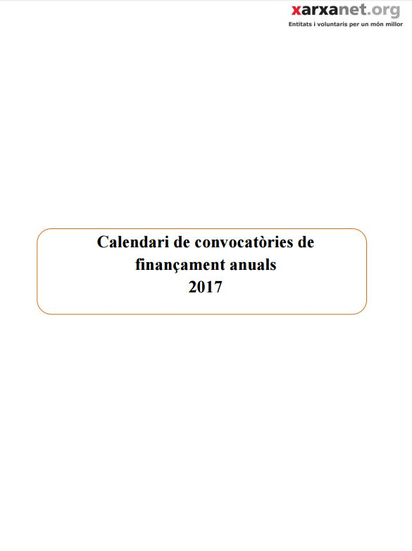 Portada de Calendari de convocatòries de finançament anuals 2017