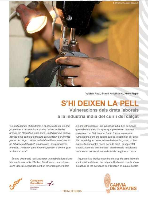 Portada de S'hi deixen la pell: vulneracions dels drets laborals en la indústria índia del cuir i del calçat