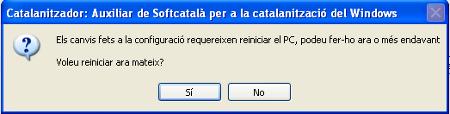 És necessàri reiniciar l'ordinador un cop acabada la instal·lació.