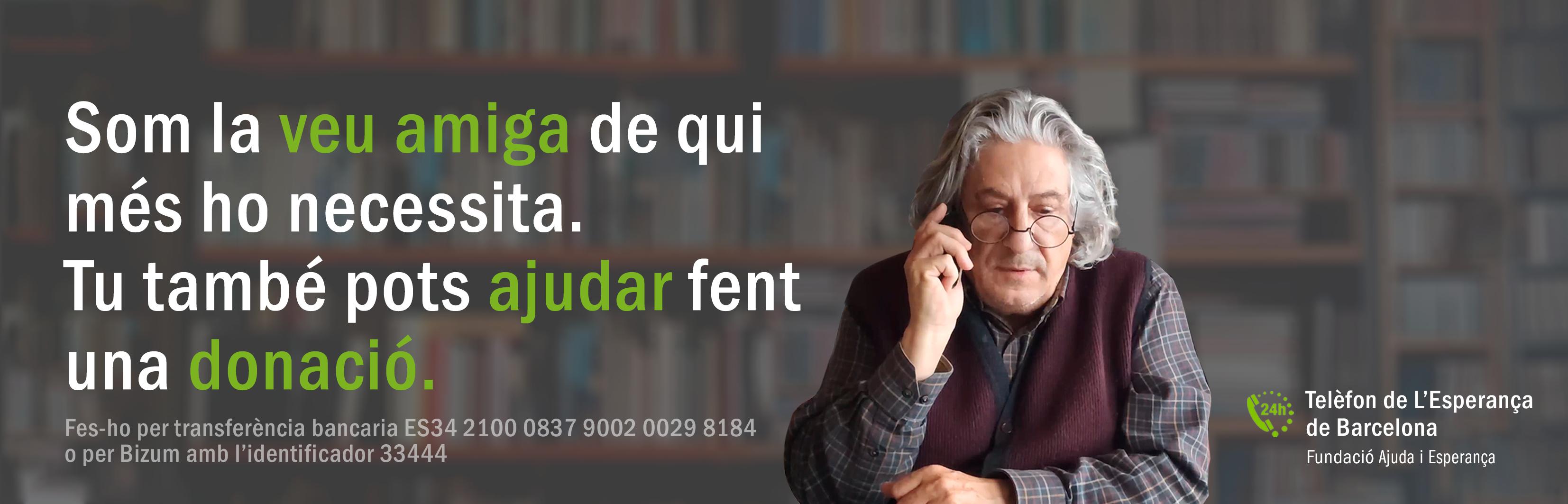 El Telèfon de l'Esperança ha habilitat un compte per rebre transferències. Font: Telèfon de l'Esperança de Barcelona