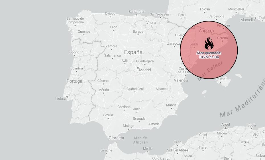 Comparació de les hectàrees cremades a Austràlia amb Espanya. Font: eldiario.es
