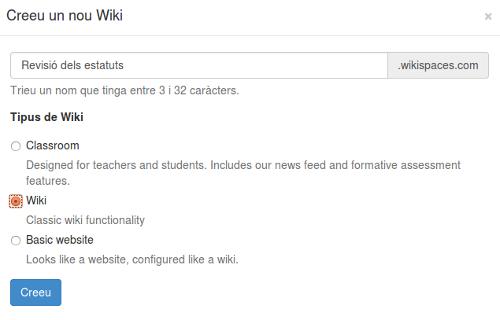 Crear una wiki amb wikispaces és ben senzill