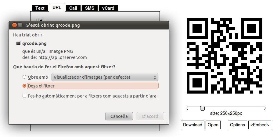 GOQR.ME ens permet guardar el QR Code com a fitxer d'imatge