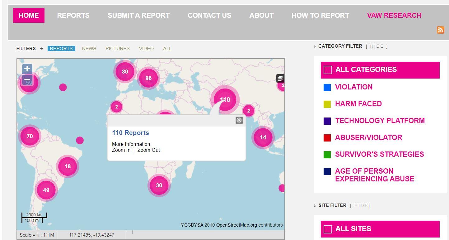 Amb el mapa online de Dominemos Las TIC, les dones, persones LGTBIQ* i altres identitats sexuals i de gènere poden documentar la seva pròpia experiència d'assetjament i violència en línia  Font: Dominemos las TIC