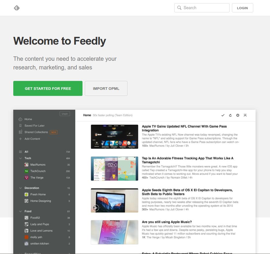 Pàgina principal de Feedly per crear un compte, loguinejar-nos-hi... Font: Feedly