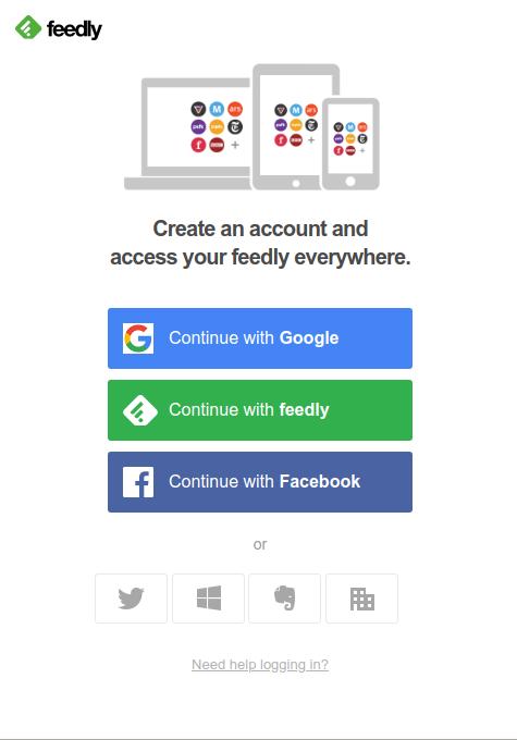 Opcions per crear un compte Font: Feedly