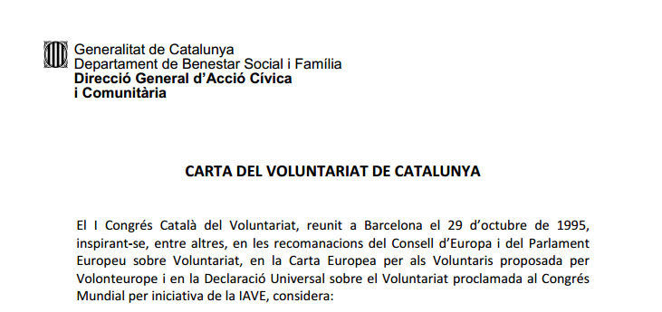Portada de Carta del Voluntariat de Catalunya