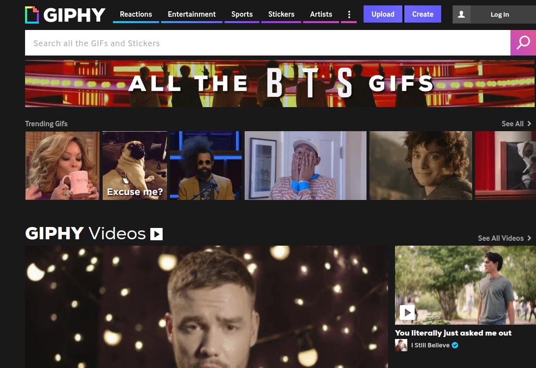 Giphy és un cercador i creador de GIFs online Font: Giphy