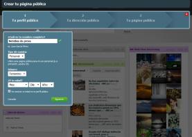Primer pas del formulari per crear una pàgina pública