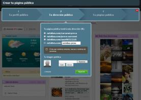 Segon pas del formulari per crear una pàgina pública