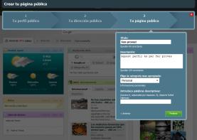 Tercer pas del formulari per crear una pàgina pública