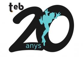 Logotip dels 20 anys de l'Associació per a Joves TEB