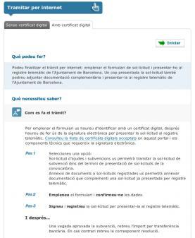 Web de l'ajunt. de Barcelona per a fer un tràmit de subvenció amb certificat