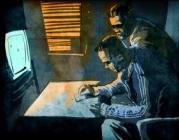 """Il·lustració de """"La pella"""" on apareixen dos persones consumint drogues"""