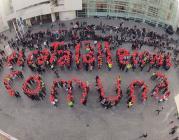 """Foto del Muralmob per la Llengua amb lema: """"El català, llengua comuna"""""""