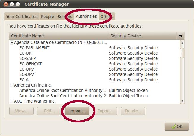 Importar Certificat - Firefox