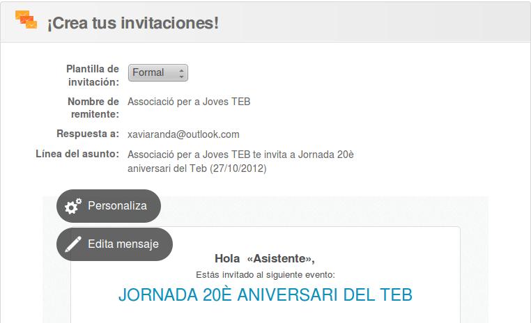 Es poden crear invitacions per convidar-hi gent