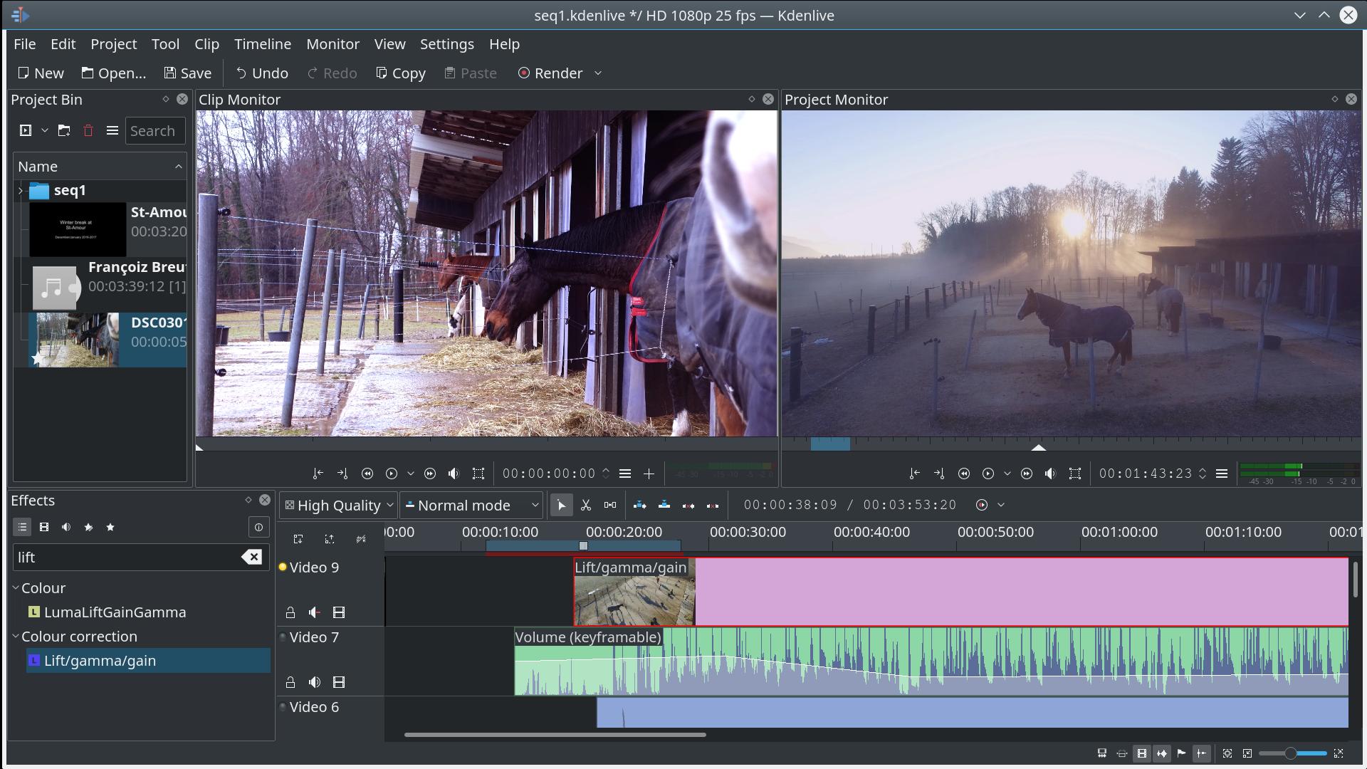 Kdenlive és un editor de vídeo per a crear composicions audiovisuals Font: Kdenlive