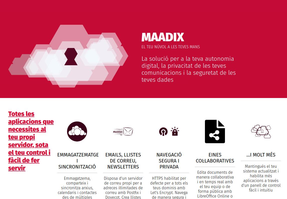 MaadiX és una eina que et permet habilitar amb un clic aplicacions de codi obert en un servidor propi Font: Maadix