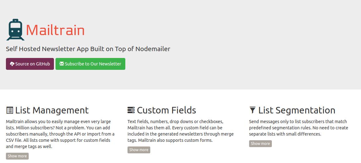 Mailtrain és una eina de creació i seguiment butlletins electrònics Font: Mailtrain