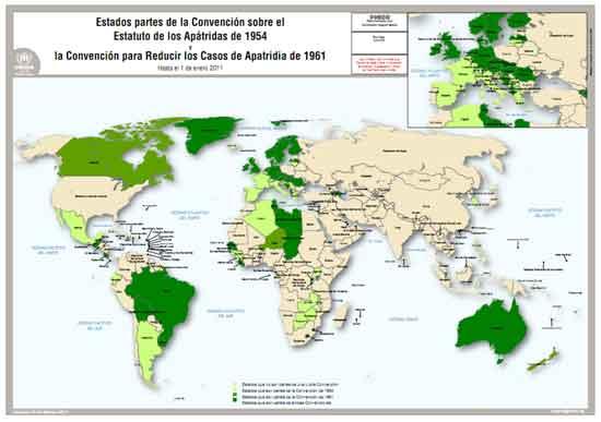 Mapa dels països que han ratificat les Convencions. Font: ACNUR