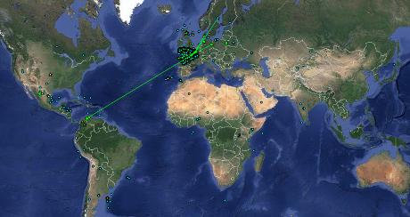El mapa mundial ens mostra les 30000 connexions