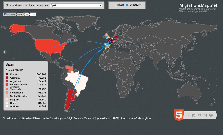 Mapa sobre la emigració espanyola