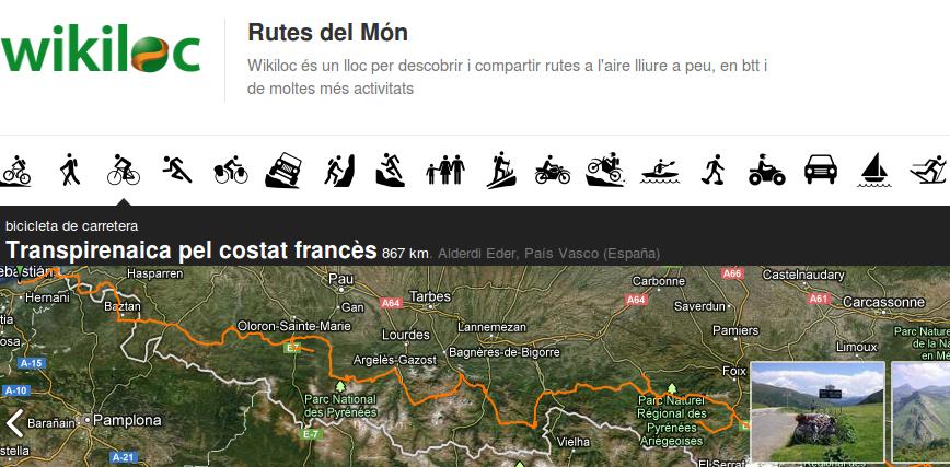 Wikiloc, per a explorar rutes Font: