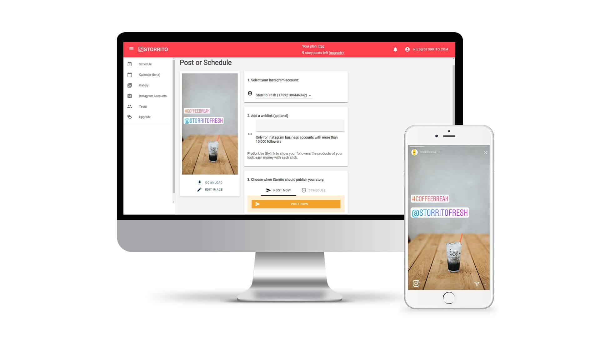 Storrito és una eina que ens ajuda a crear i programar històries d'Instagram des del nostre ordinador d'escriptori Font: Storrito