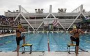 Nadadores a punt de competir. Font: web de l'Ajuntament de Barcelona