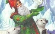 Un Pare Noel verd  i proper als animals, simbol d'un Nadal Sostenible (imatge:pinterest/Lynn Bywaters)
