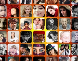 Collage de cares de diverses persones en primer pla