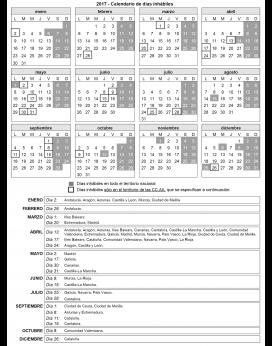 El calendari complet es pot consultar al Butlletí Oficial de l'Estat. Font: BOE