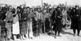 Persones refugiades provinents d'Espanya després de la Guerra Civil, al camp d'internament Argelès-Sur-Mer