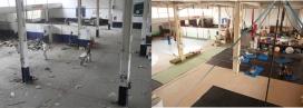 L'abans i el després de la rehabilitació d'un espai de la nau. Font: Can Fugarolas