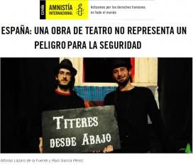 Els titellaires Alfonso Lázaro i Raúl García, detinguts per enaltiment del terrorisme. Font: Amnistia Internacional